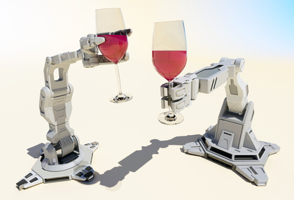 Glasses of wine in the hands of robots.
