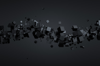 Abstract 3d rendering of chaotic particles. Futuristic cubes in empty space. Sci-fi background.