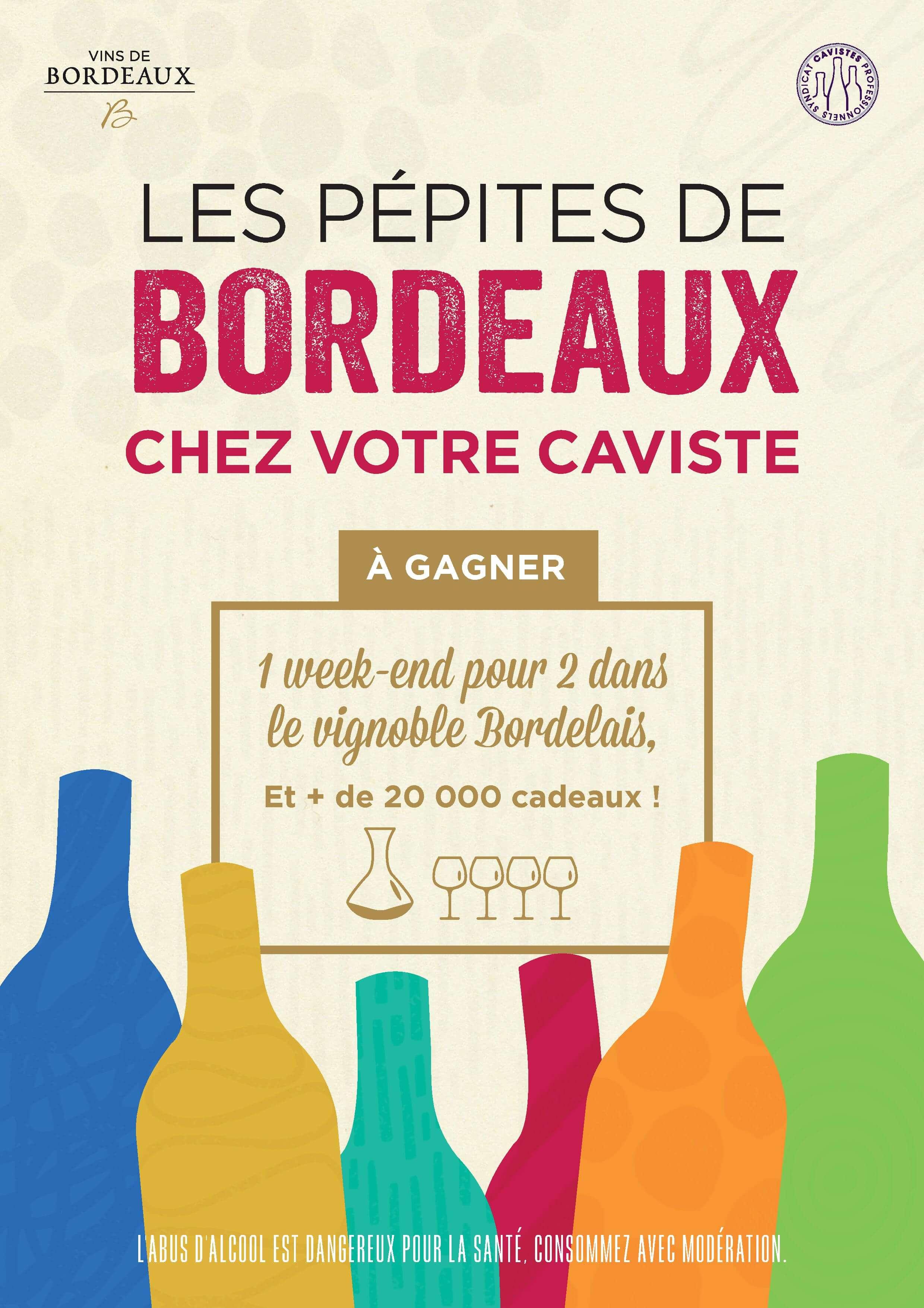 Affiche opé Pépites de Bordeaux chez les cavistes du 15 octobre au 15 novembre 2018
