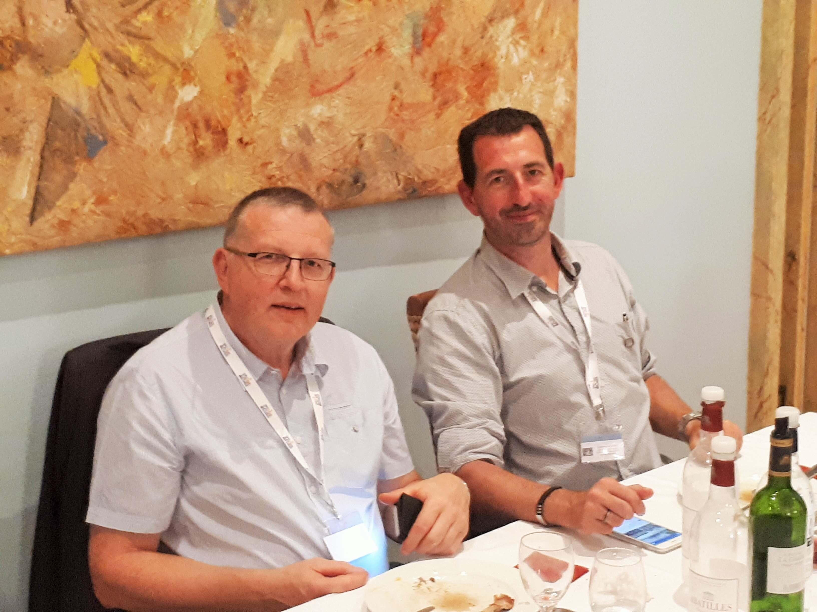 Patrick Jourdain, Président du SCP Syndicat des Cavistes Professioels et Stéphane ALBERTI, Caviste d'Or 2014, Château La Garde, septembre 2018