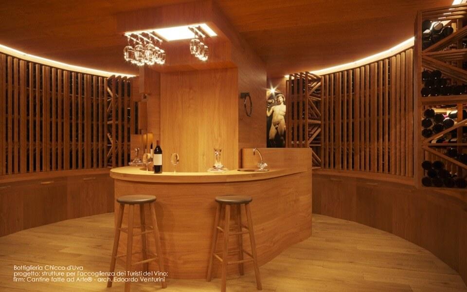 salle de dégustation très contemporaine bois Bottigliera Chicco d'Uva Cantine fatte ad arte