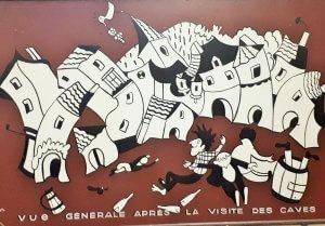 Fresque représentant la sortie des caves, sans doute en titubant