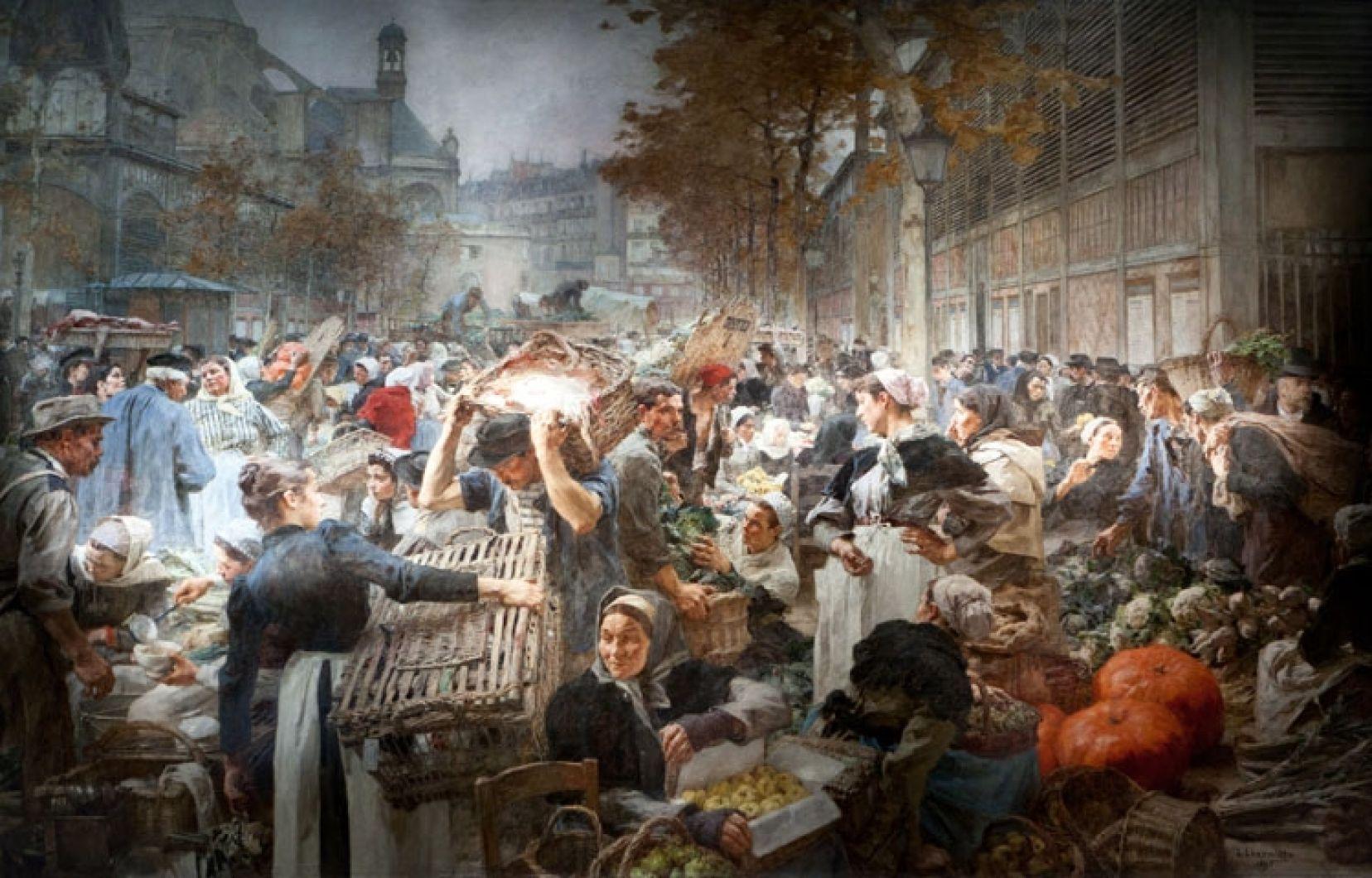 Scène de marché 19ème siècle