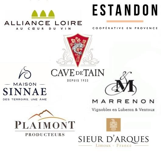 Les logos des coopératives partenaires des cavistes - Cave de Tain / Plaimont Producteurs / Sieur d'Arques / Marrenon / Sinnae / Alliance Loire / Estandon