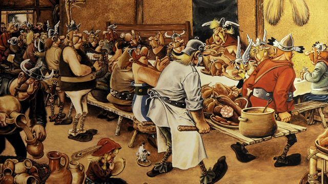 Banquet gaulois reconciliation autour de la table et des boissons